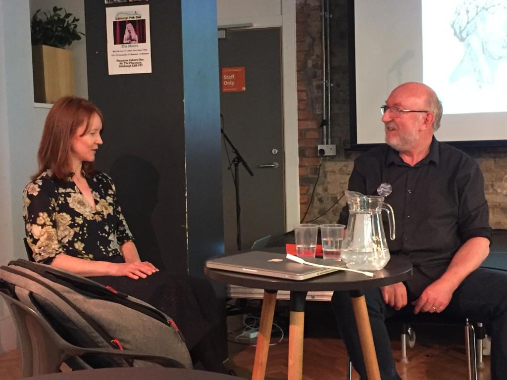 Simone Hutchinson in conversation with Noel Chidwick, editor of Shoreline of Infinity. Cymera. Photo: Richard Taylor.